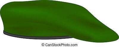 wojskowy, zielony, beret