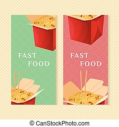 Fast food banners with wok. Graphic design elements for menu packaging, apps, website, advertising, poster, brochure and background. Vector illustration for bistro, snackbar, cafe or restaurant