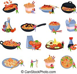 Wok box set of isolated icons with served noodles on frying pan plate packed in box vector illustration