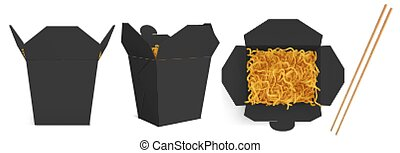 Wok box with noodles and sticks mockup, black take away food container, blank bag for chinese meal or fastfood top and front view. Paper open realistic 3d vector mock up isolated on white background