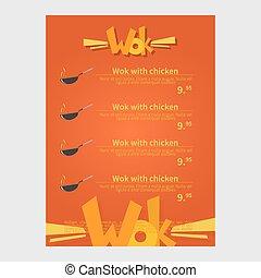 Wok cafe menu, template design. Flat style vector...