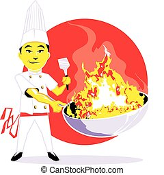 Cartoon of an asian chef with a fiery wok