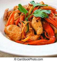 wok-fried noodle asian food