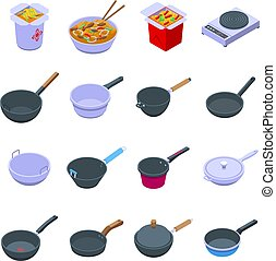 Wok frying pan icons set. Isometric set of wok frying pan vector icons for web design isolated on white background