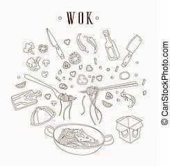 Wok illustration. Asian frying pan. Concept illustration for restaurant hand drawn