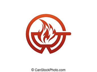 Wok logo design template. Asian frying pan. Concept illustration for restaurant