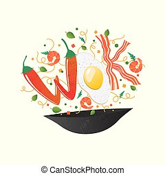 Wok logo for thai or chinese restaurant. Stir fry with edible letters. Cooking process vector illustration. Flipping Asian food in a pan. Cartoon style isolated on white