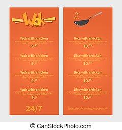 Wok menu. Template menu of wok restaurant. Flat style...