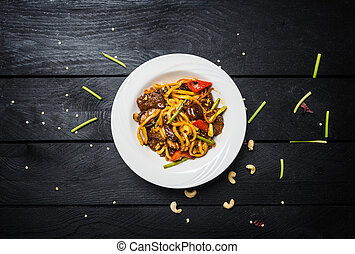 wok., noir, remuer, bois, udon, légumes, plaque, frire, ...
