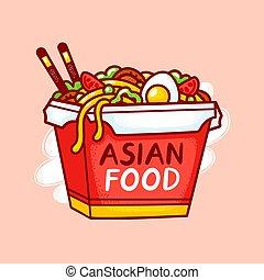 Wok noodle box logo. Vector flat line cartoon illustration icon. Isolated on white background. Asian food, noodle, wok box logo concept
