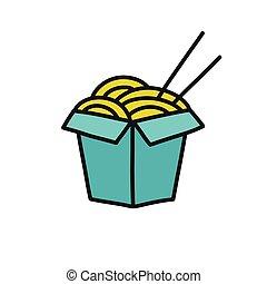wok noodles doodle icon, vector illustration