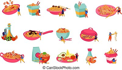 Wok box flat recolor set of isolated icons with served and packed asian fast food noodles vector illustration