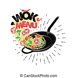Wok pan. Asian fast food. Hand drawn typography poster.