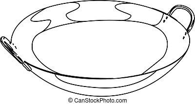 wok pan contour vector illustration