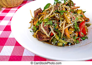 wok-plate of asian cuisine with vegetables and chicken