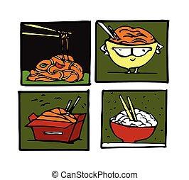 Wok, chinese cuisine illustrations set.