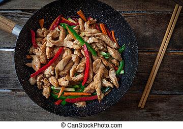 wok, poulet, végétariens