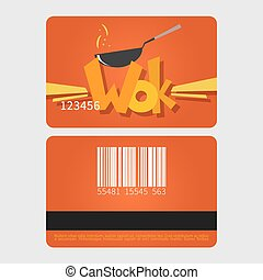 Wok restaurant. Template loyalty card design. Flat style...