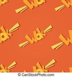 Wok logo seamless pattern.