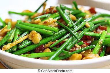 wok stir fry with selective focus