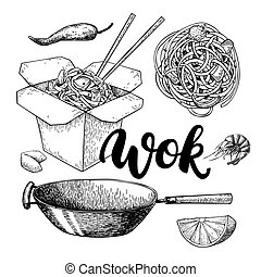 Wok vector drawing with lettering. Isolated chinese box, wok and chopsticks with noodles, vegetables and seafood. Hand drawn detailed fast asian food illustration. Great for banner, poster, menu decor