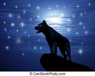 Wolf against the moon and stars
