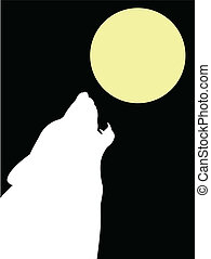Wolf and moon - vector