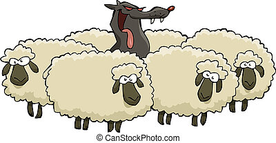 Wolf and sheep - A wolf in sheep herd vector illustration