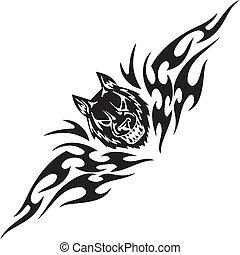 Predatory head and symmetric tribals - vector illustration