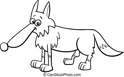 wolf animal character cartoon coloring book