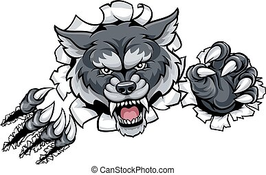 Wolf Animal Sports Mascot Breaking Background