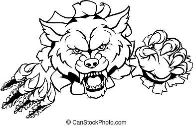 Wolf Animal Sports Mascot Breaking Background