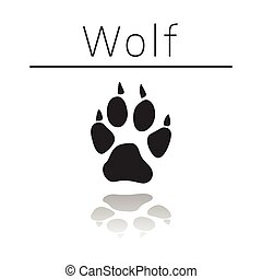 Wolf animal track with name and reflection on white ...