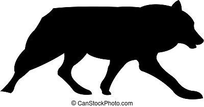 Wolf black silhouette vector illustration