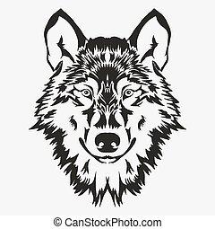 Wolf bolt Emblem, mascot head silhouette, sport logotype....