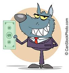 Wolf Business man Holding Cash