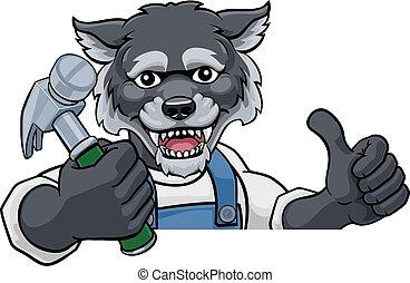 Wolf Carpenter Handyman Builder Holding Hammer
