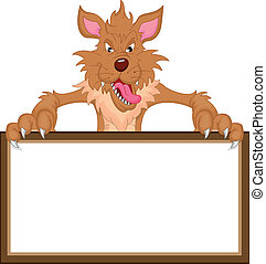wolf cartoon and blank sign illustration