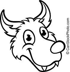 Wolf Cartoon Character Face