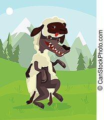 Wolf character in sheep clothing. Vector flat cartoon illustration