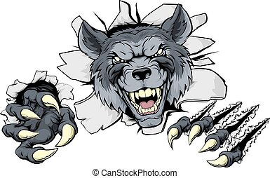 A mean wolf character or sports mascot breaking out