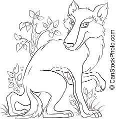 Wolf Coloring page. Cute animal character