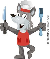 Wolf cooking, illustration, vector on white background.