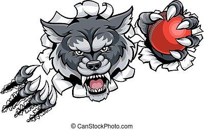Wolf Cricket Mascot Breaking Background