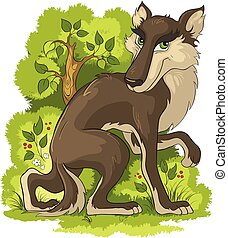 Wolf. Cute animal character