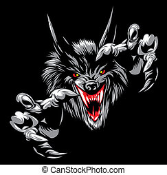 wolf devil - illustrated wolf devil on the black background