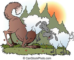 Wolf disguised in a sheeps suit - Vector cartoon...