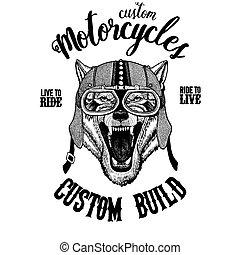 Wolf Dog Wild animal Biker, motorcycle animal. Hand drawn...