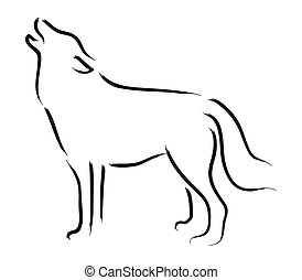 Wolf - Simple sketch of a howling wolf