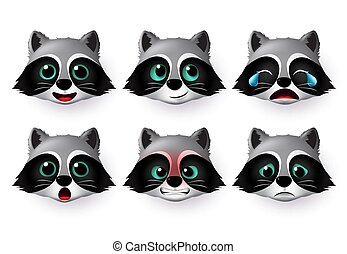 Wolf emoticon or emojis vector set. Wolfs face head emoji animal character in cute expressions.